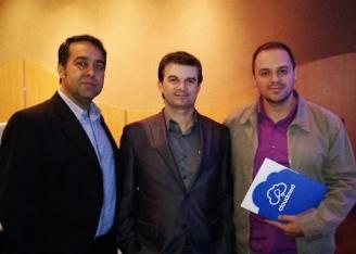 Luciano (Gerente de Negócios) e Eliézer (Diretor) da Cloudmed, juntamente com José Duarte, da Unimed Jaú.